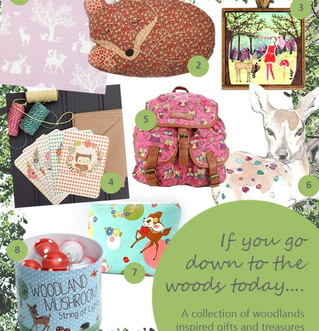 A collection of woodlands inspired gifts and treasures