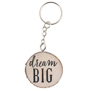 Dream big wooden keyring