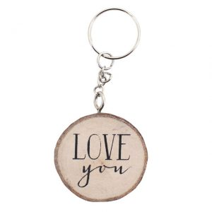 Love You wooden keyring