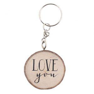 Love You wooden keyring