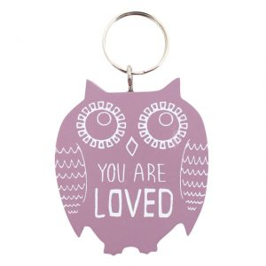 Owl 'you are loved' keyring